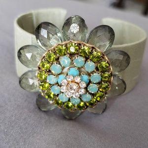 Anthropologie Lenora Dame Cuff Floral Bracelet